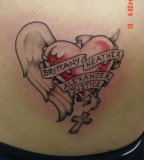 Kids Name with Love and Wing Shaped Tattoo Design