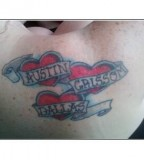 Love Shaped and Kids Name Parent Tattoo Design