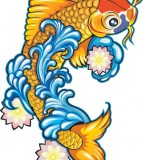 Gold Koi Fish Tattoos Design Picture