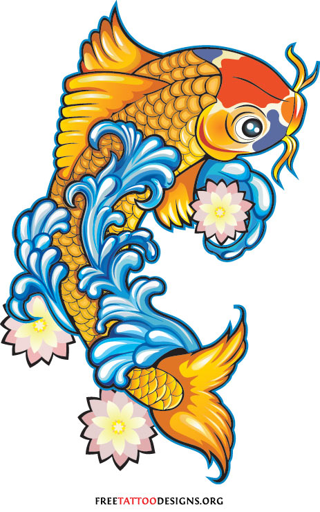 Gold Koi Fish Tattoos Design Picture