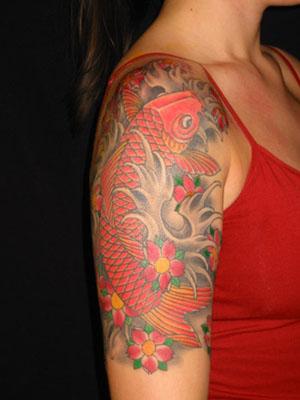 Japanese Koi Fish Tattoo Design for Girl