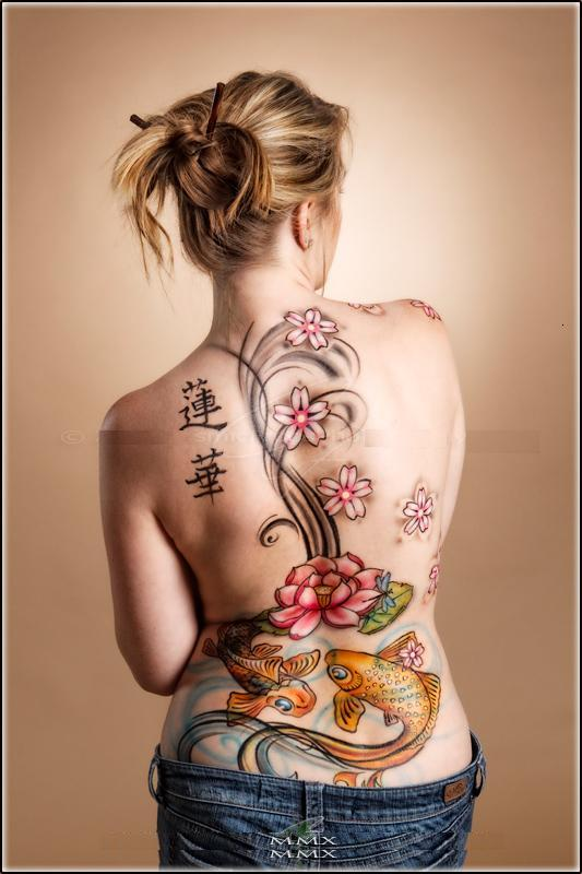 Tramp Stamp Tattoos Koi Fish Tattoo Color