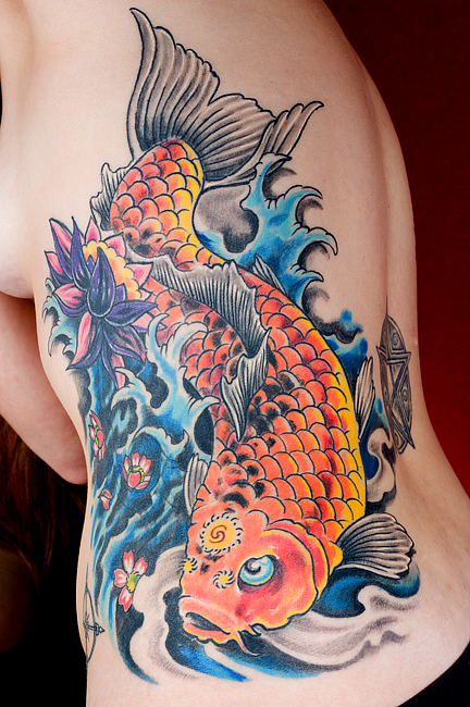 Charming Koi Fish Tattoo Designs for Back