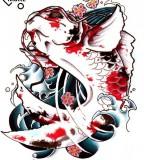 Very Cool Koi Fish Tattoo Design Sketch