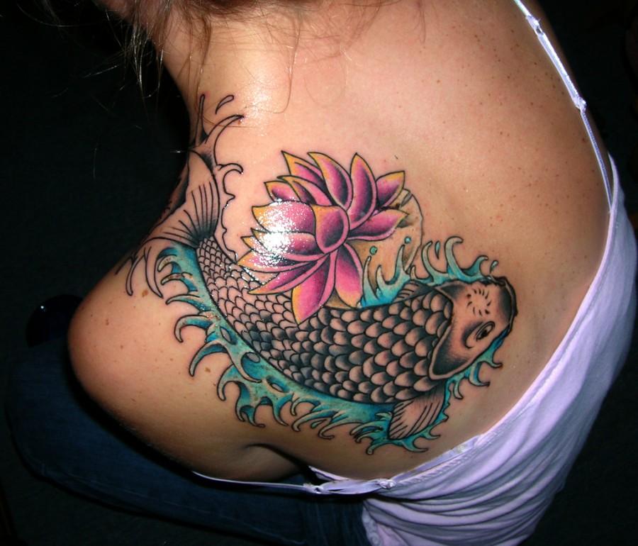 Feminine Koi Fish Tattoo Design on Back Shoulder for Girl
