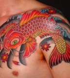 Japanese Fish Koi Tattoos for Shoulder
