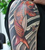 Upper Arm Koi Fish Tattoos