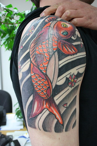 Upper Arm Koi Fish Tattoos