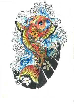 Fantastic Japanese Koi Fish Tattoo Design Sketch