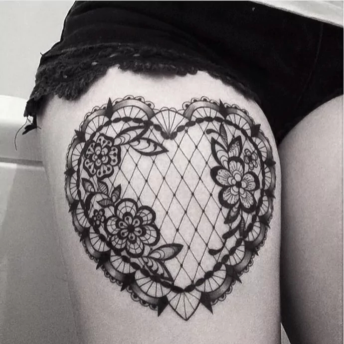 lace heart tattoos for women