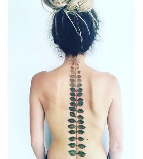 leaf print tattoos for women