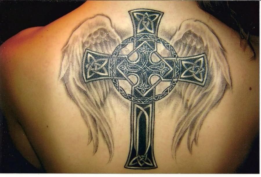 Celtic Cross Angel Tattoo For Men