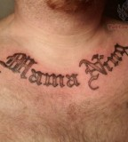 Simple Lettering Tattoo On Chest For Men