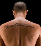 Upper Back Tattoo Lettering Tattoo Design For Man