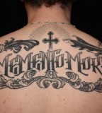 Skull Cross Upper Back Lettering Tattoo
