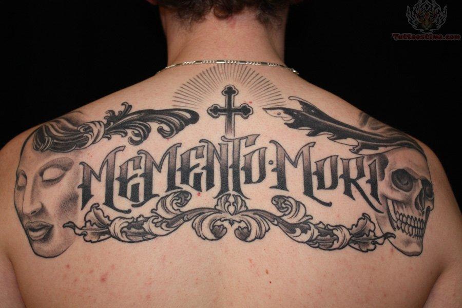 Skull Cross Upper Back Lettering Tattoo
