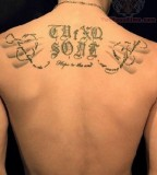 Custom Name  Upper Back Lettering Tattoo For Men