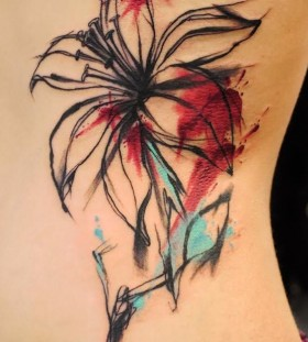 lily watercolor tattoo