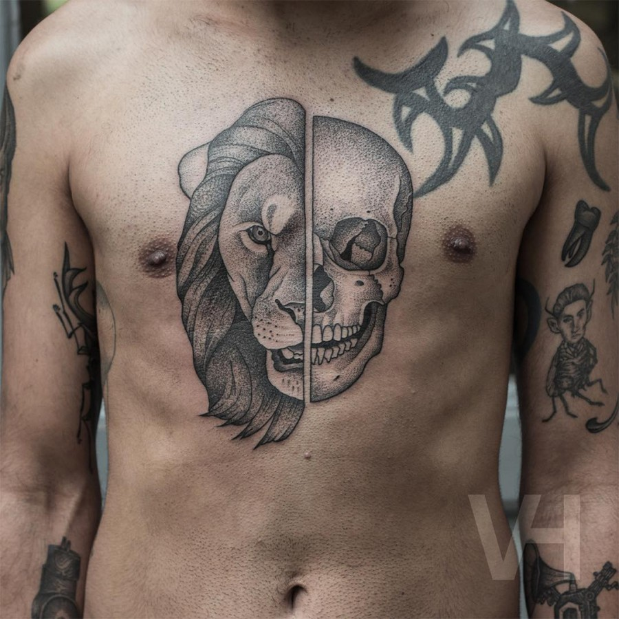 lion-and-skull-chest-tattoo-by-valentin-hirsch