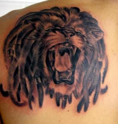 Deadly Lion Face Tattoo