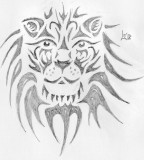 Lion Face Tattoo Sketch Design