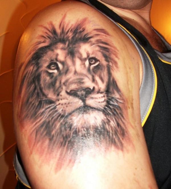 Lion Head Tattoo Design on Half Sleeve ,