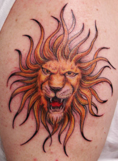 Lion Tattoo With Mane In The Shape Of The Sun