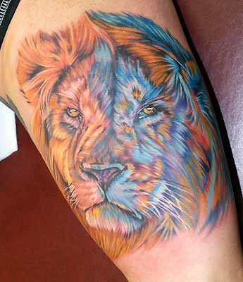 Colorful Lion Tattoo Half Sleeve