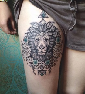 lion on leg tattoos for women