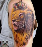 Amazing Upper-Arms Lions with Crown Tattoo Designs - Animal Tattoos