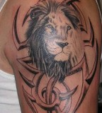 Lion Head and Tribal Background Tattoo Design Ideas - Tribal Tattoos