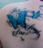 Cool Live Laugh Love with Blue Butterfly Tattoos Pictures