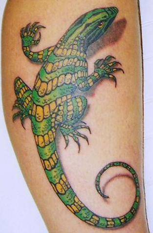 Realistic Green And Yellow Lizard Tattoo