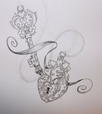 Lock And Key Beautiful Tattoo Sketch