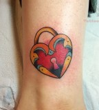 Love Heart Lock Wrist Tattoo