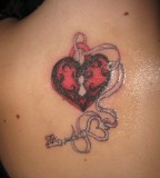 Love Lock And Key Shoulder Tattoo