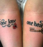 One Love One Heart Lock Key Tattoo for Couples