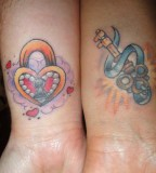 Red and Blue Lock Key Couples Tattoo