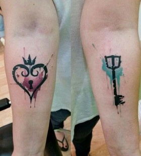 lock and key watercolor couple tattoo