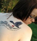Music Bird Back Tattoo Ideas for Woman