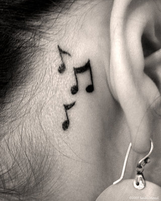 Music Tattoos on Neck Behind Ear