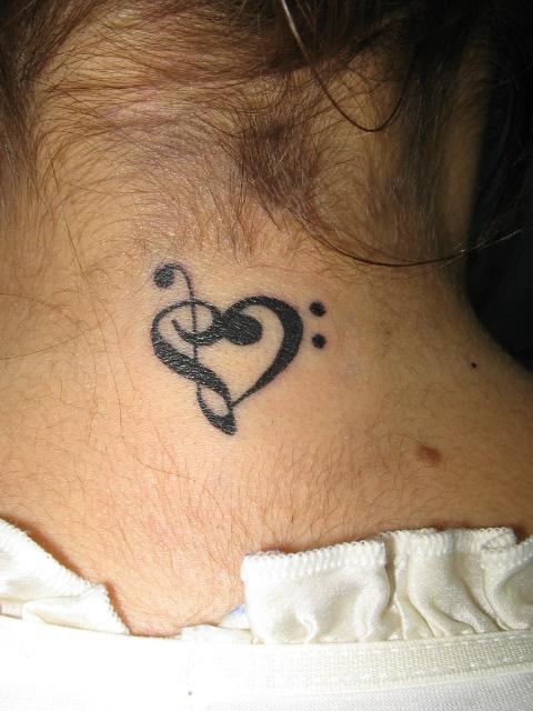 Love Music Neck Tattoo