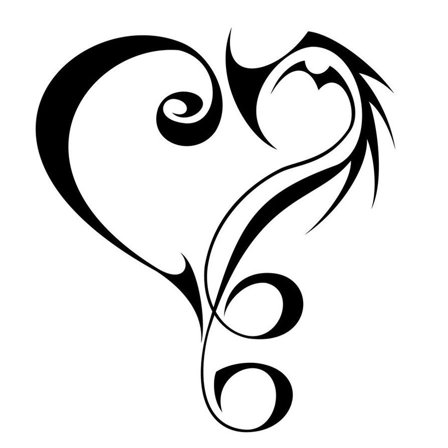 Tribal 9 Music Love Tattoo Sketch