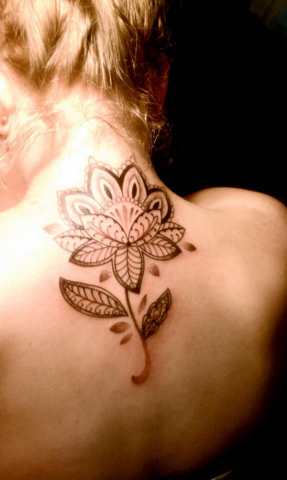 Upper Back Flower Tattoo For Girl