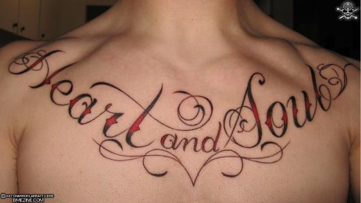 Cool Tattoo Ideas Lettering On Chest