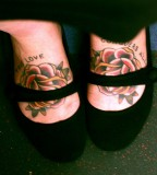 Flower True Love Conquers Tattoo On Foot