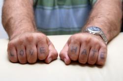 Sweet Love Hate Tattoo on Finger