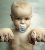 Love Hate Scripture Tattoo on Baby Finger