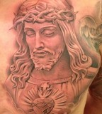 New Tattoo By Miguel Ochoa Of Lowrider Jesus Religious Chest Piece