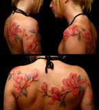 Great Magnolia Flowers Tattoo